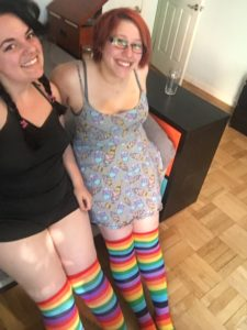 We wore matching rainbow socks, 'cause we knew the dude liked 'em.