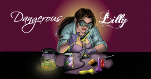 an illustration of blogger Lilly doing sex toy science experiments