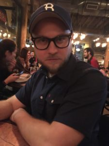 my handsome friend Brent looking very serious in big nerdy glasses