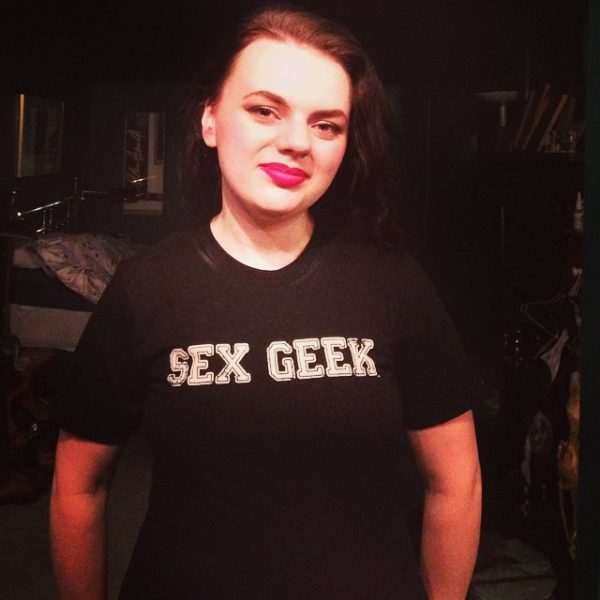 "me wearing a ""Sex Geek"" T-shirt"
